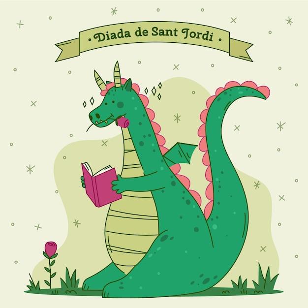 Illustrazione disegnata a mano di diada de sant jordi Vettore gratuito