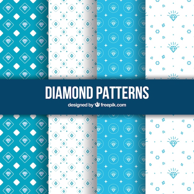 Hand drawn diamond patterns Free Vector