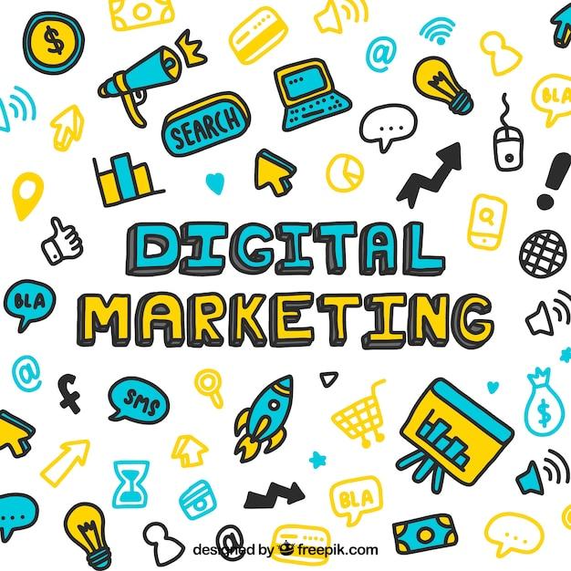Hand drawn digital marketing pattern