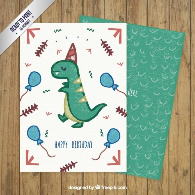 Hand drawn dinosaur birthday card Vector | Free Download
