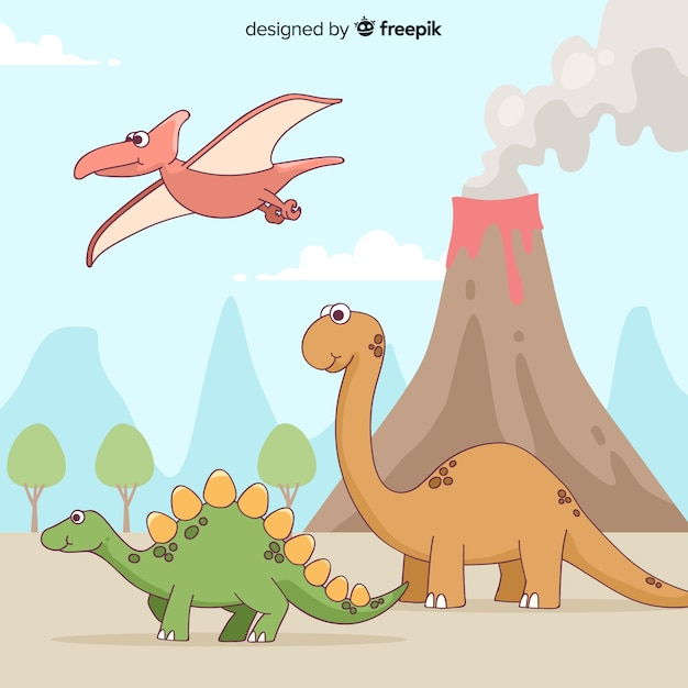 Hand drawn dinosaur collection Free Vector