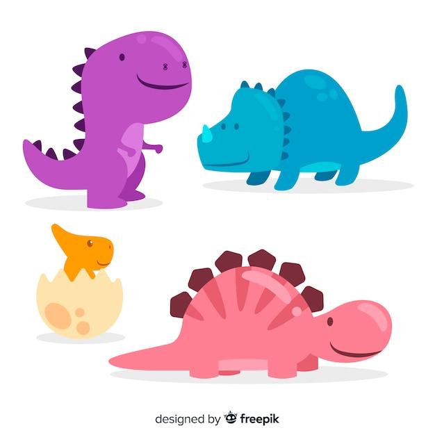 Hand drawn dinosaur collection Free Vector