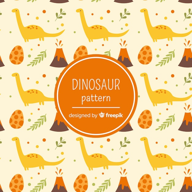 Hand drawn dinosaur pattern Free Vector