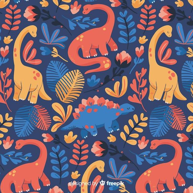 Hand drawn dinosaur pattern Free Vector