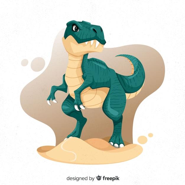 Hand drawn dinosaur t-rex Free Vector