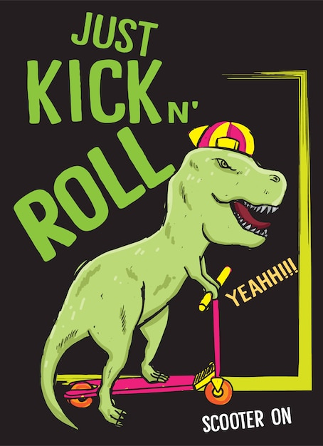 Hand drawn dinosaur with scooter for t shirt Premium Vector