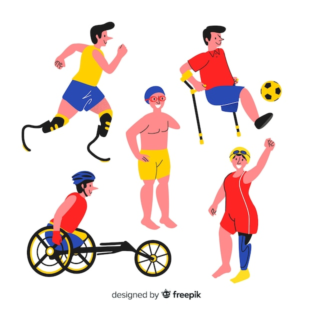 Hand drawn disabled athlete collection Free Vector