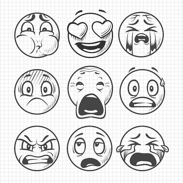 Hand drawn dissatisfied sad faces, smiles vector set Premium Vector