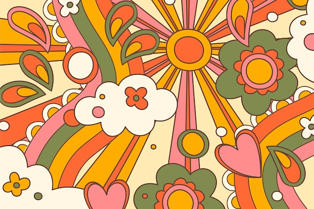 Hand drawn distorted groovy background Free Vector