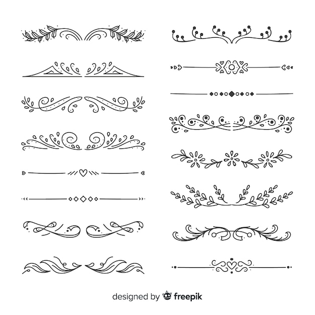 Hand drawn divider collection Free Vector