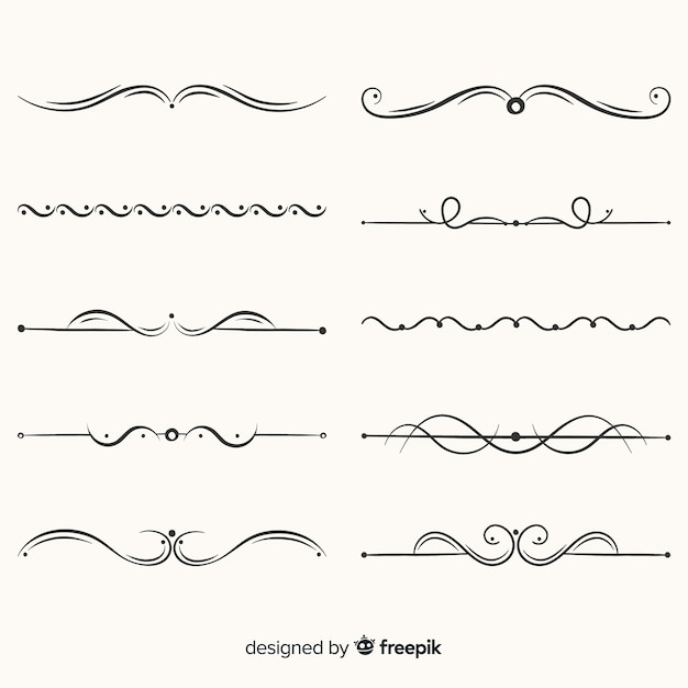 Hand drawn divider collection Premium Vector