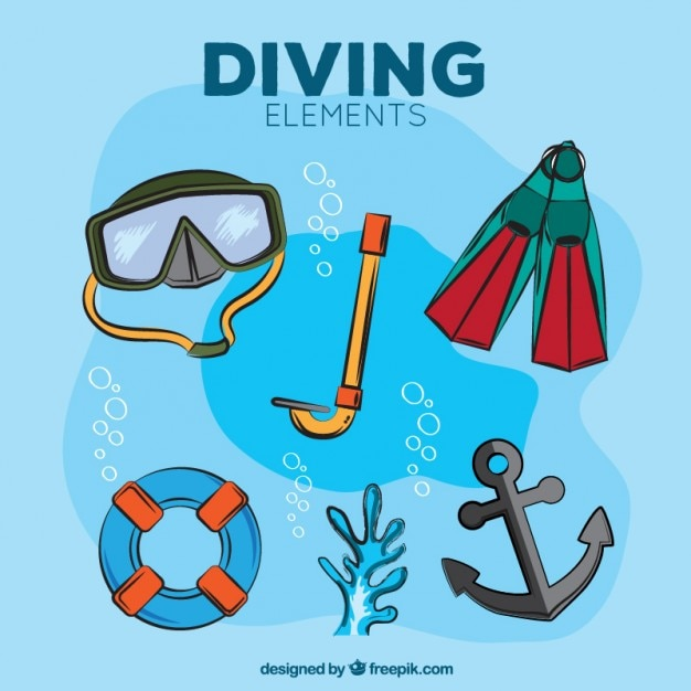 Hand drawn diving elements with anchor Free Vector