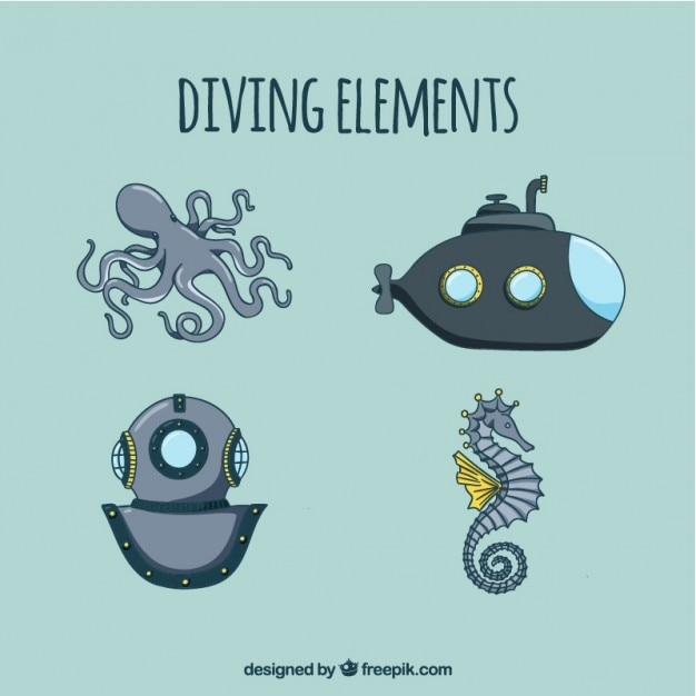 Hand drawn diving elements Free Vector