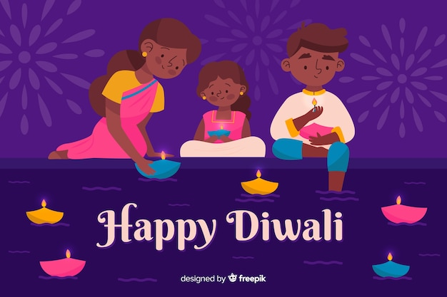 Hand drawn diwali background with family Free Vector