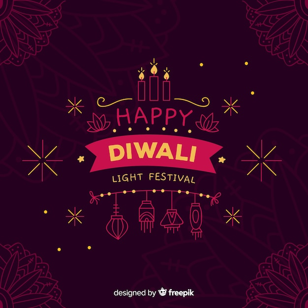 Hand drawn diwali background Free Vector
