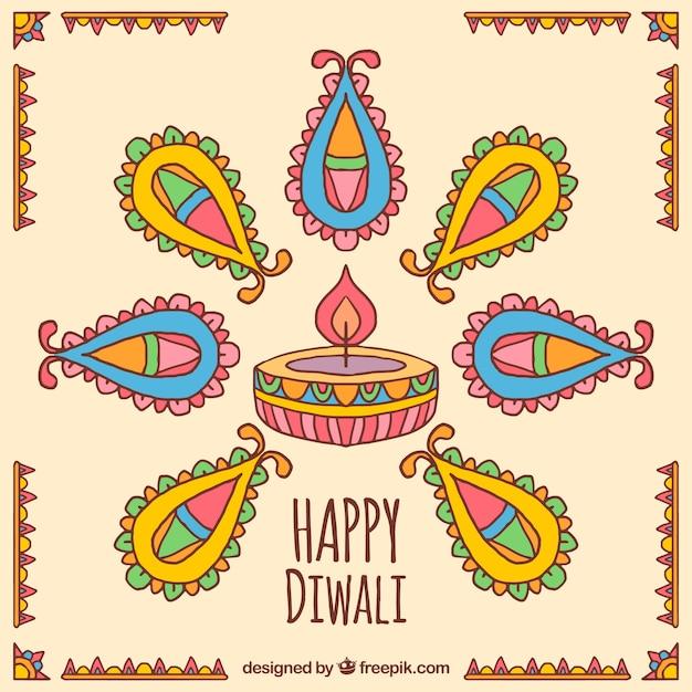 Hand drawn diwali decorative background