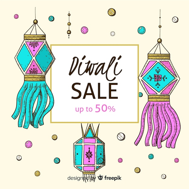 Hand drawn diwali sale with 50% discount Free Vector