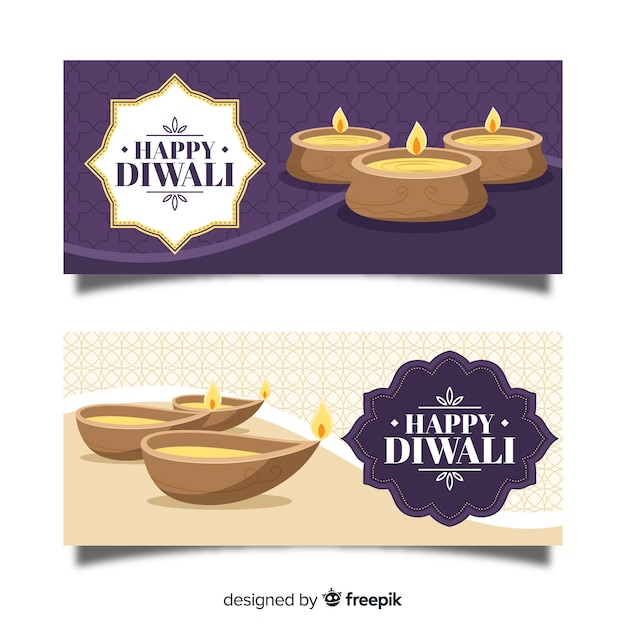 Hand drawn diwali web banners Free Vector