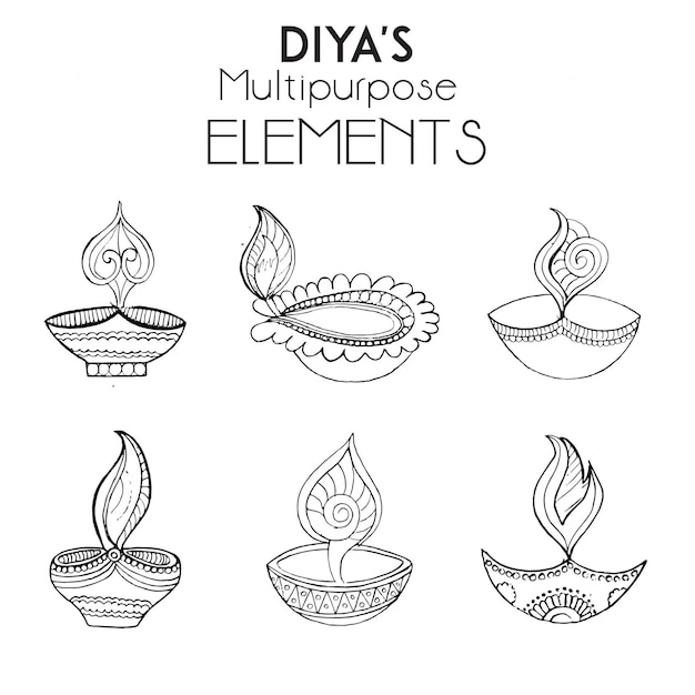 Hand drawn diya 39 s collection vector free download for Agal vilakku decoration