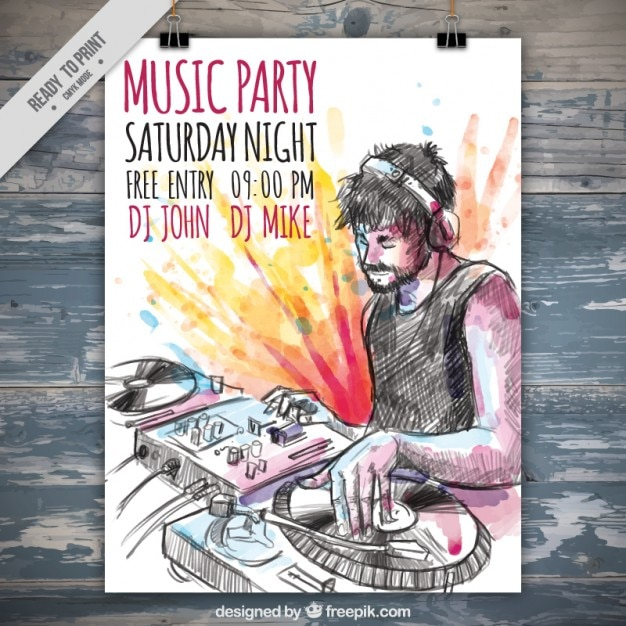 Hand drawn dj music party poster with watercolor splashes Free Vector