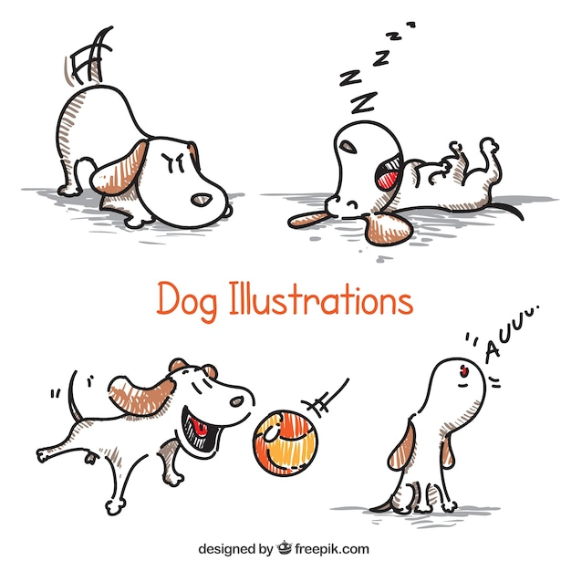 Hand Drawn Dog Illustrations Vector Premium Download