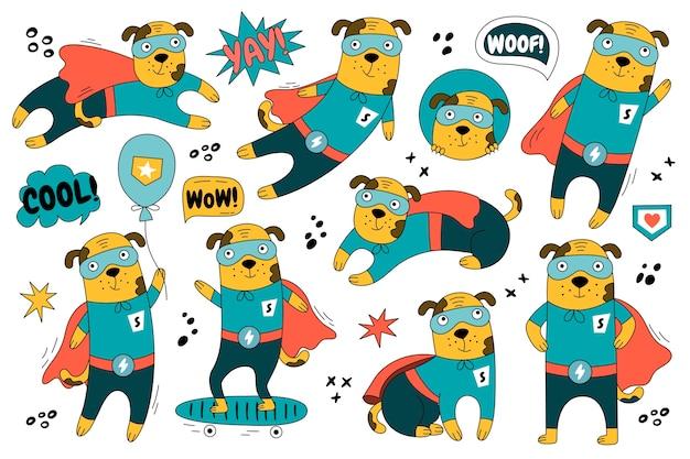 Рисованная собака в костюме супермена в разных позах. набор милый персонаж супергероя Premium векторы
