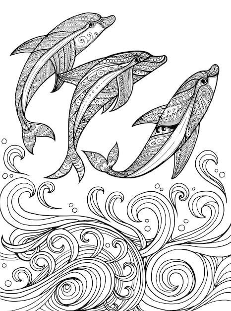 Hand drawn dolphins  background Premium Vector