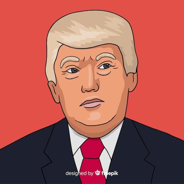 Hand Drawn Donald Trump Portrait Free Vector