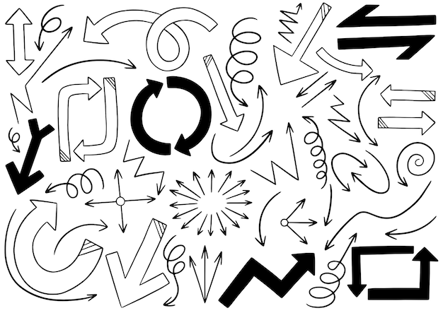 Hand drawn doodle arrows set Premium Vector