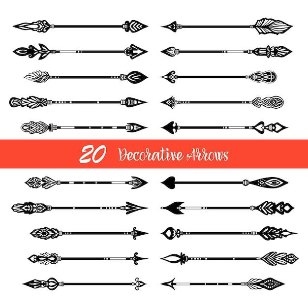 Hand drawn doodle arrows set Free Vector