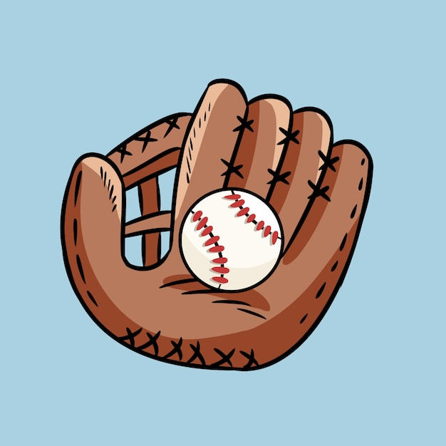 Hand drawn doodle of baseball glove holding a ball ...