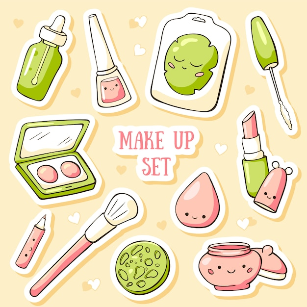 Hand drawn doodle card template with cute make up objects Premium Vector