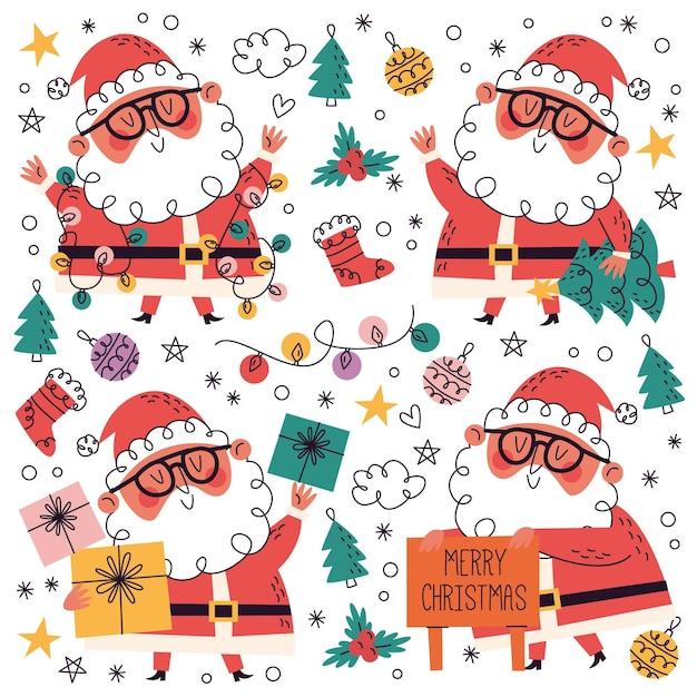Collezione natalizia disegnata a mano + doodle Vettore gratuito