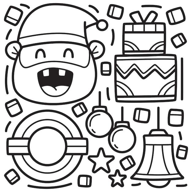手描き落書きクリスマスぬりえ Premiumベクター