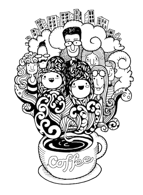 Hand drawn doodle coffee background, illustrator line tools