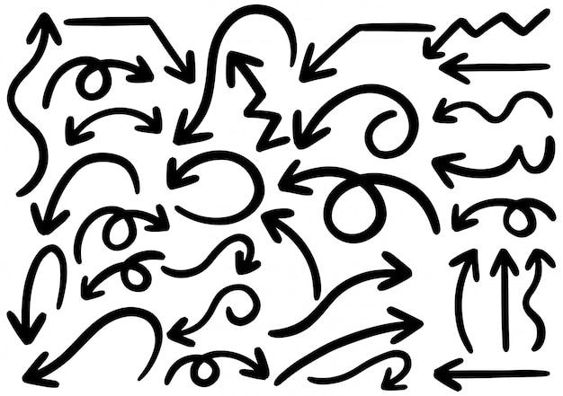 手描き落書きデザイン要素。手描きの矢印、フレーム、ボーダー、アイコン、シンボル。 Premiumベクター