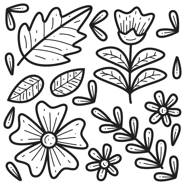 Рисованной каракули цветочные иллюстрации Premium векторы