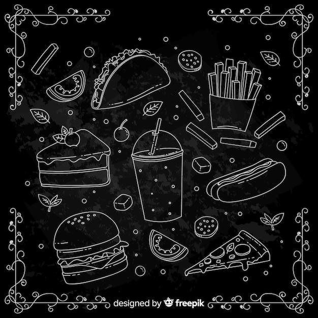 Sfondo di cibo doodle disegnato a mano Vettore gratuito