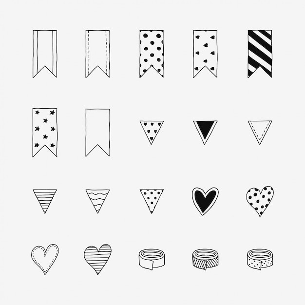 Hand drawn doodle icons Premium Vector
