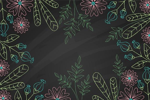 Рисованной каракули листья и цветы фон Бесплатные векторы
