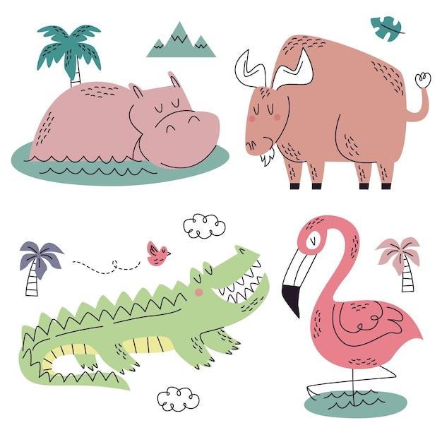 Collezione di natura doodle disegnato a mano Vettore gratuito