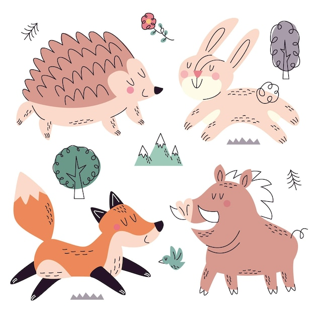 Hand drawn doodle nature collection Free Vector