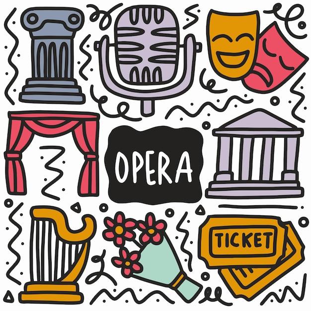Ручной обращается каракули оперное шоу с иконами и элементами дизайна Premium векторы
