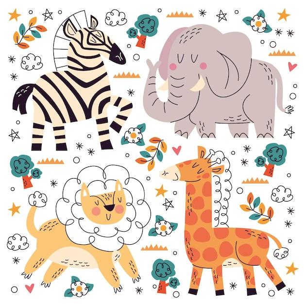 Коллекция рисованной каракули домашних животных Бесплатные векторы
