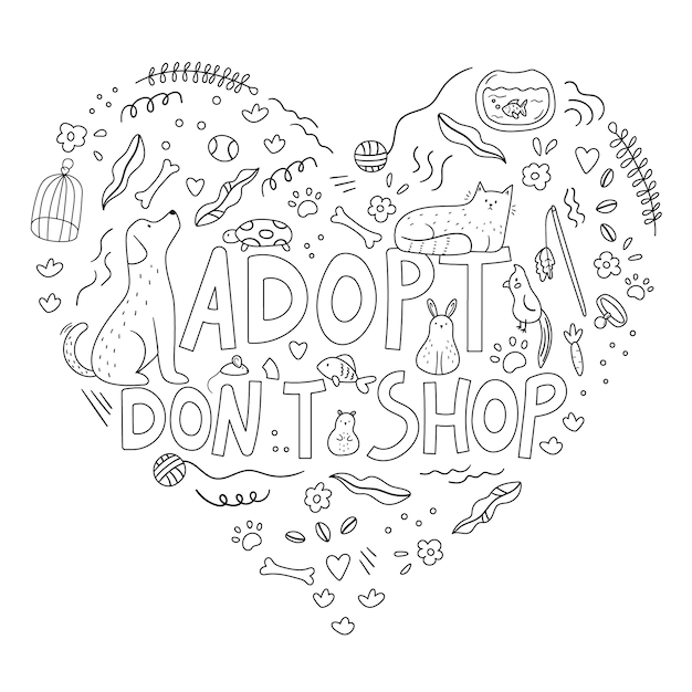 Hand drawn doodle pets and objects heart Premium Vector