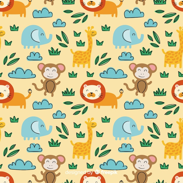 Hand drawn doodle seamless pattern Free Vector