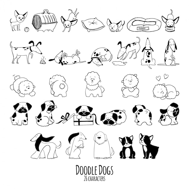 Hand drawn doodle  set of dogs characters in sketch Premium Vector