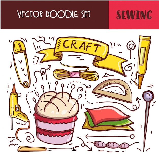 Hand drawn doodle sewing icon set Premium Vector