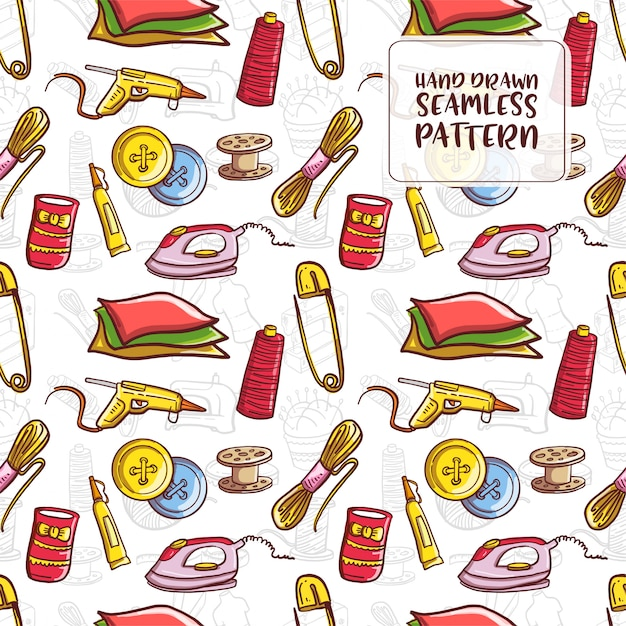 Hand drawn doodle sewing seamless pattern Premium Vector