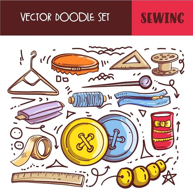 Hand drawn doodle sewing set Premium Vector